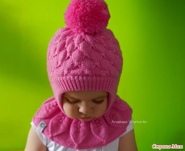 Вязать двойная шапка для девочки