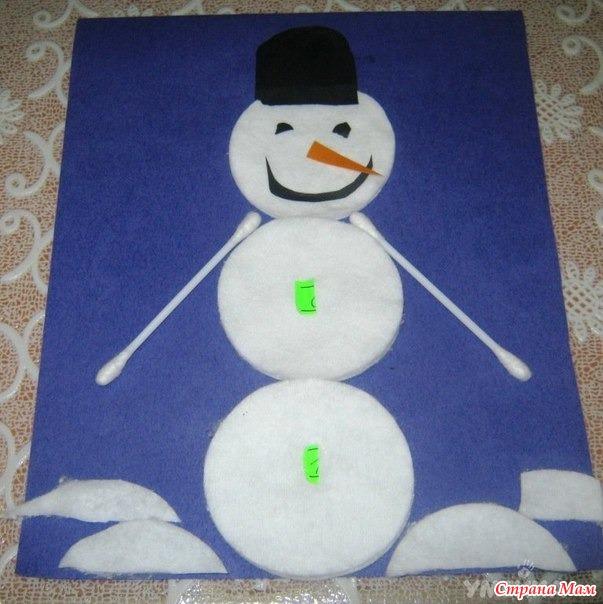 Сделать снеговика из ватных дисков