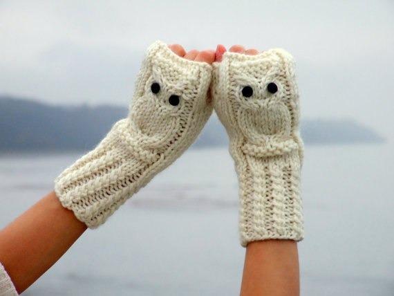 """针织铰链辫帽子及""""猫头鹰""""手套 - maomao - 我随心动"""