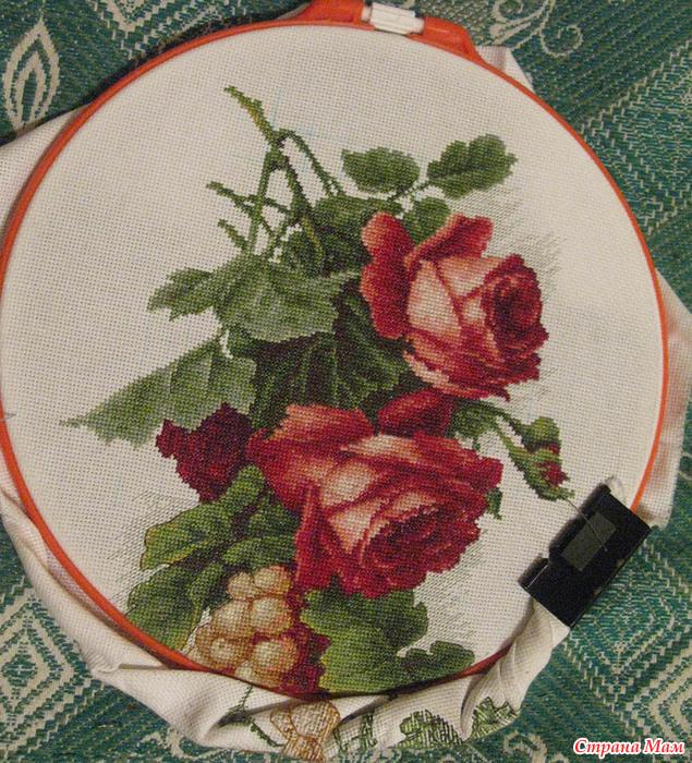Виноград с розами вышивка 442
