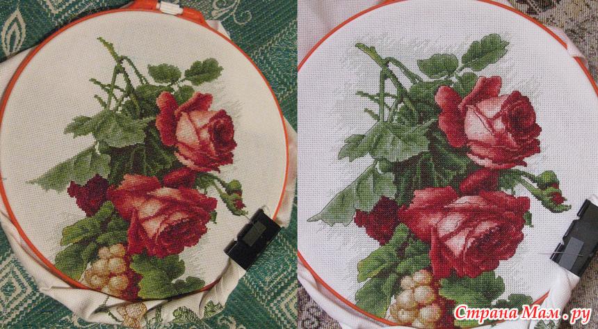 Виноград с розами вышивка 873