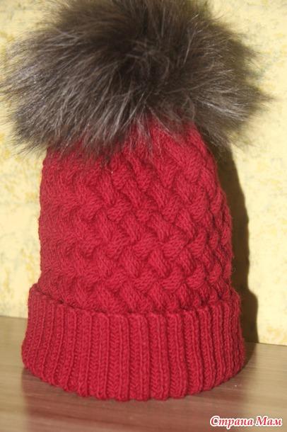 шапка плетенка спицами с ушками