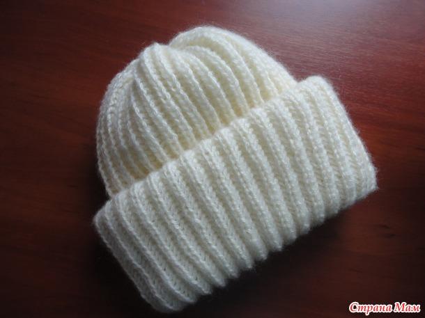 шапка плетенка с двойным отворотом