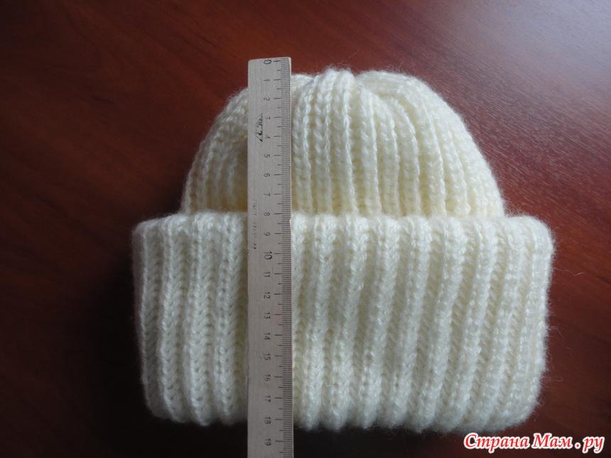 Вязание спицами шапка с отворотом английской резинкой спицами 82