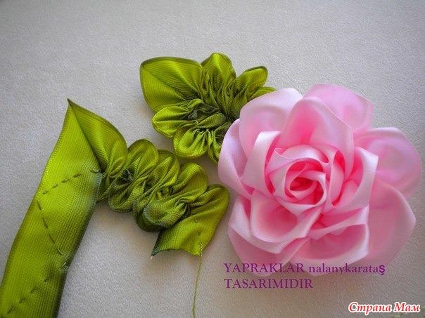 Цветы из атласных лент 5 см своими руками мастер класс
