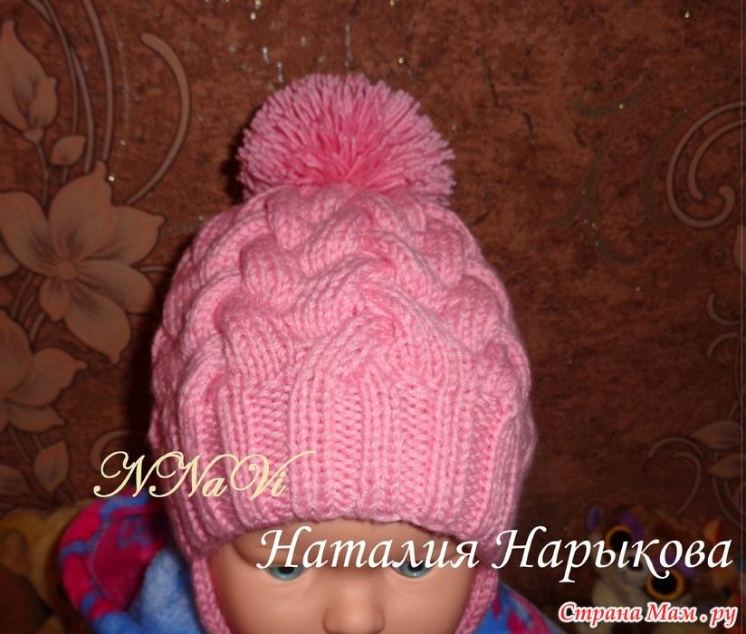 Вязание шапки с поперечной косой 7