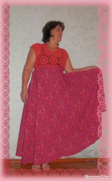 Как вяжет платья крючок и ткань