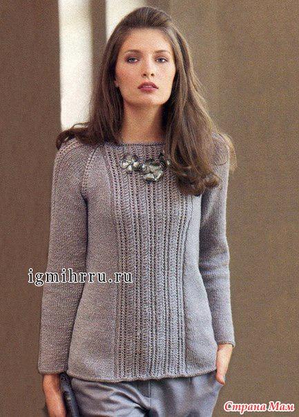 Пуловер-реглан с вертикальными ажурными полосами