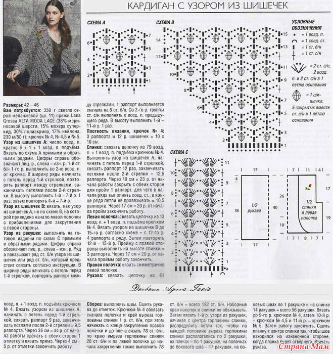 Узоры и схемы для вязания кардигана 36