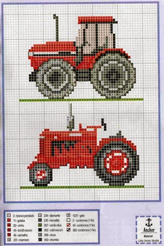 Вышивка крестом трактора