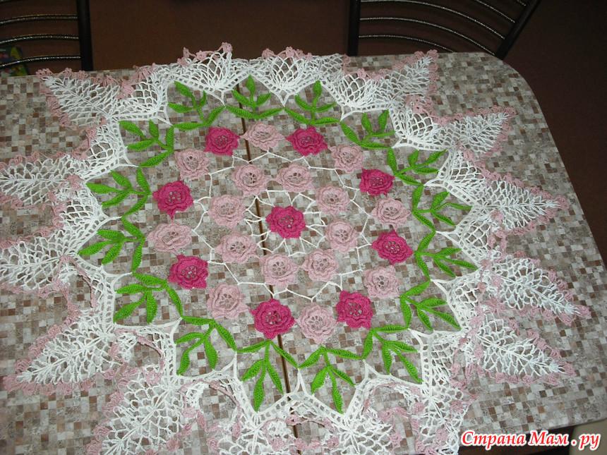 Вязание крючком розы салфетками