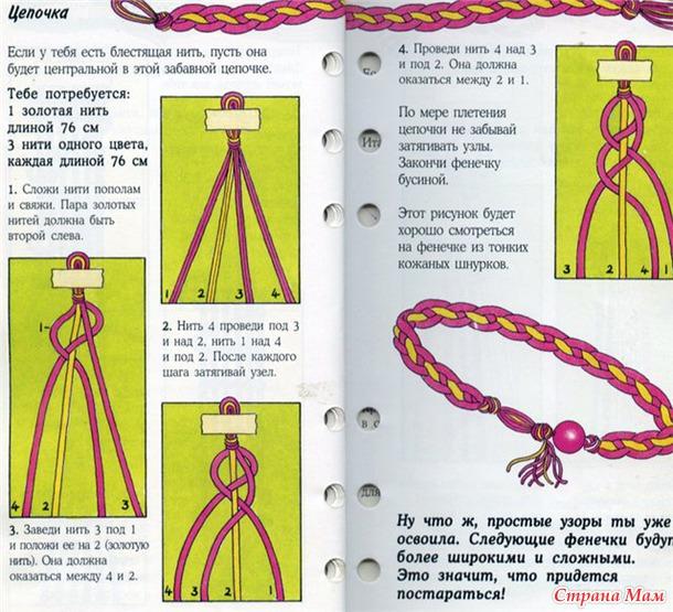 Плетение из красной нитки