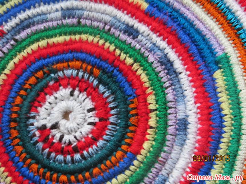Вязание из остатков ниток коврики