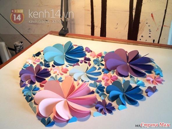 3d цветок из бумаги