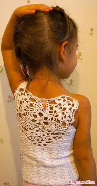 Вязание ажурных топов крючком для девочки