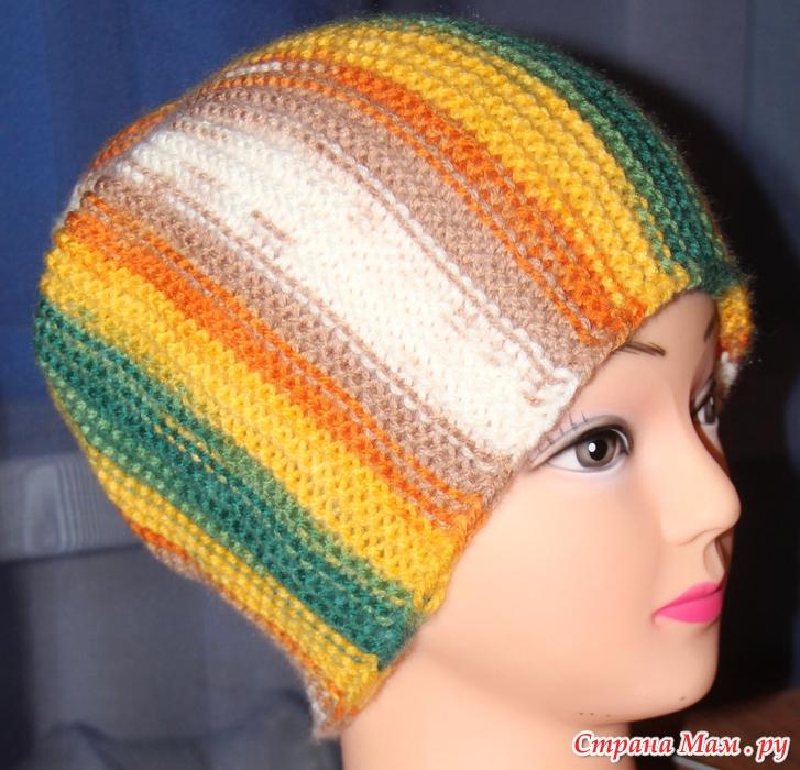 Вязание спицами шапки поперечное 37
