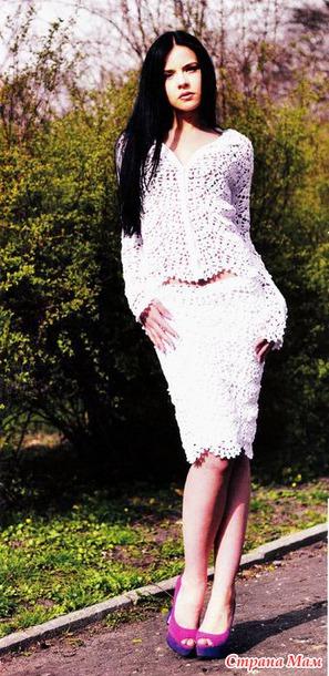 . Ажурный веер – Жакет, юбка и топ одним узором