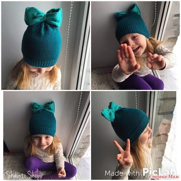 Детская шапочка с бантиком вязание