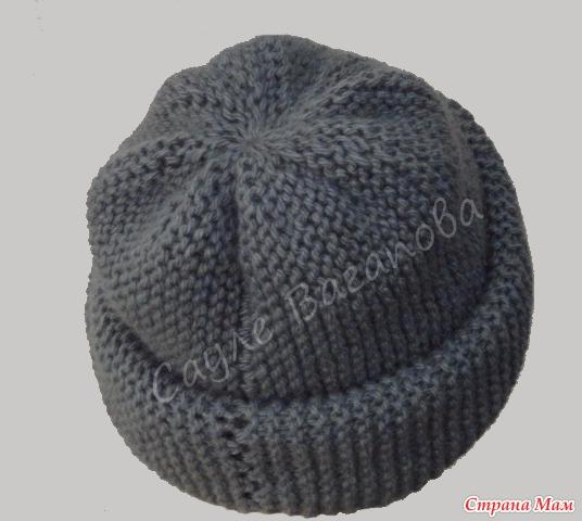 Мини-МК. Как связать Без дырочек макушку шапки-бини поперечным вязанием укороченными рядами спицами