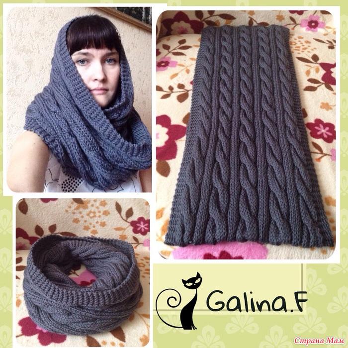 Вязание шарфа снуда спицами с косами схема