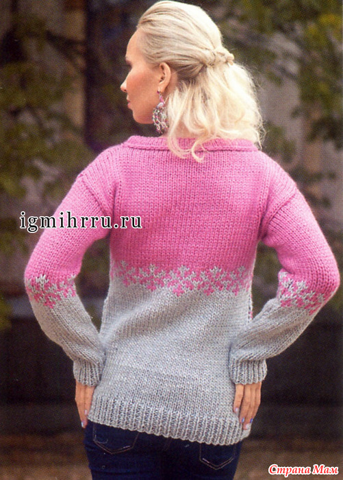 Розово-серый пуловер спицами