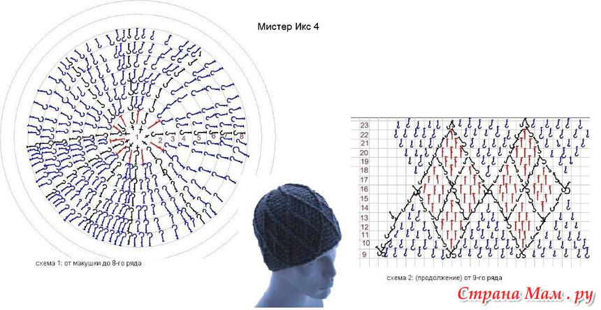 Вязание с крючком шапка зимние схема 591
