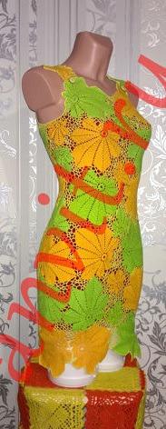 Платья с кленовыми листьями крючком