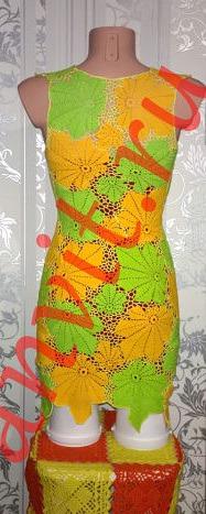 Платье крючком кленовый лист