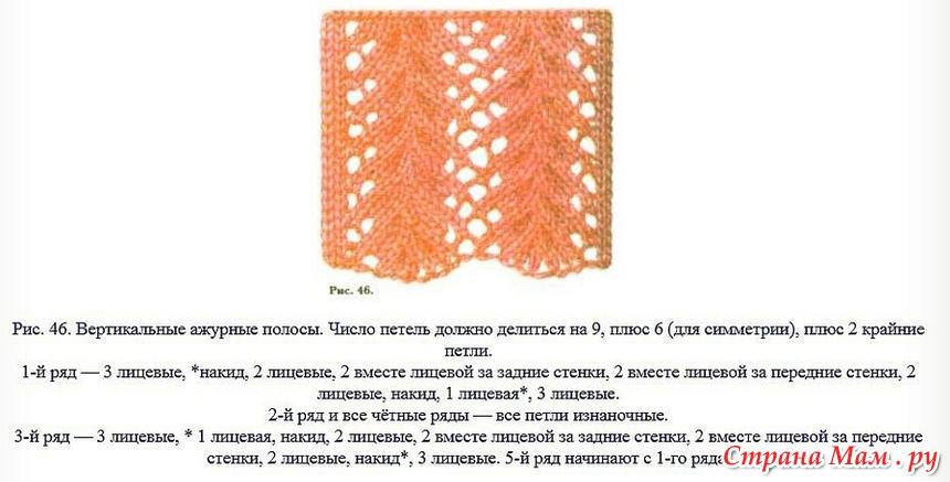 Вязание ажурных полосок спицами 96