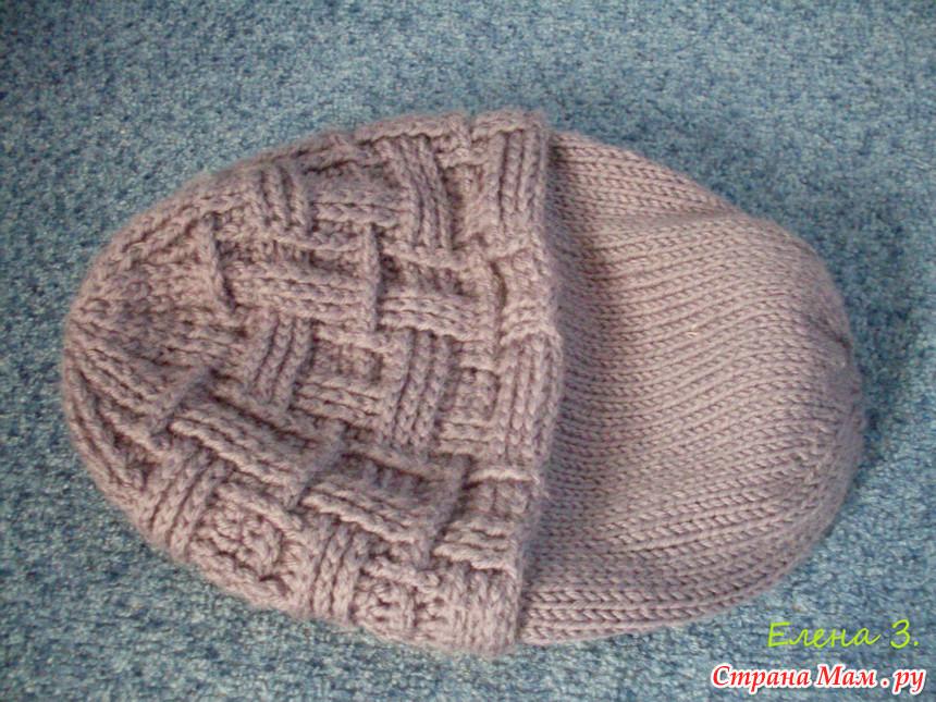 Двойная шапка вязания на спицами мужские