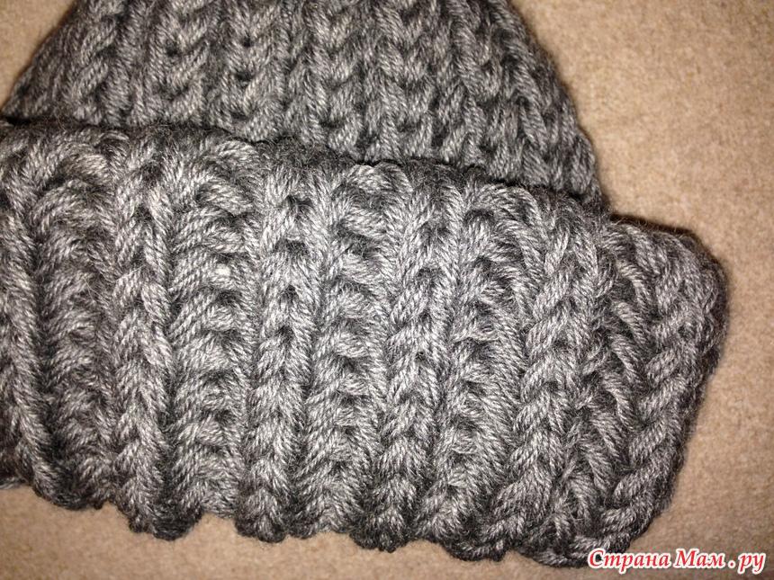 Вязание шапок английской резинкой на спицах
