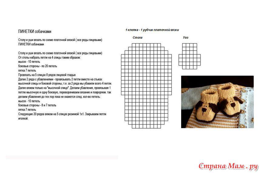 Схем вязания пинеток двумя спицами