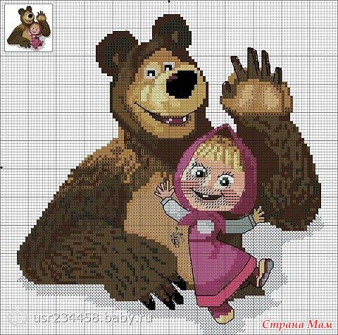 Маша и медведь вышивка крестом