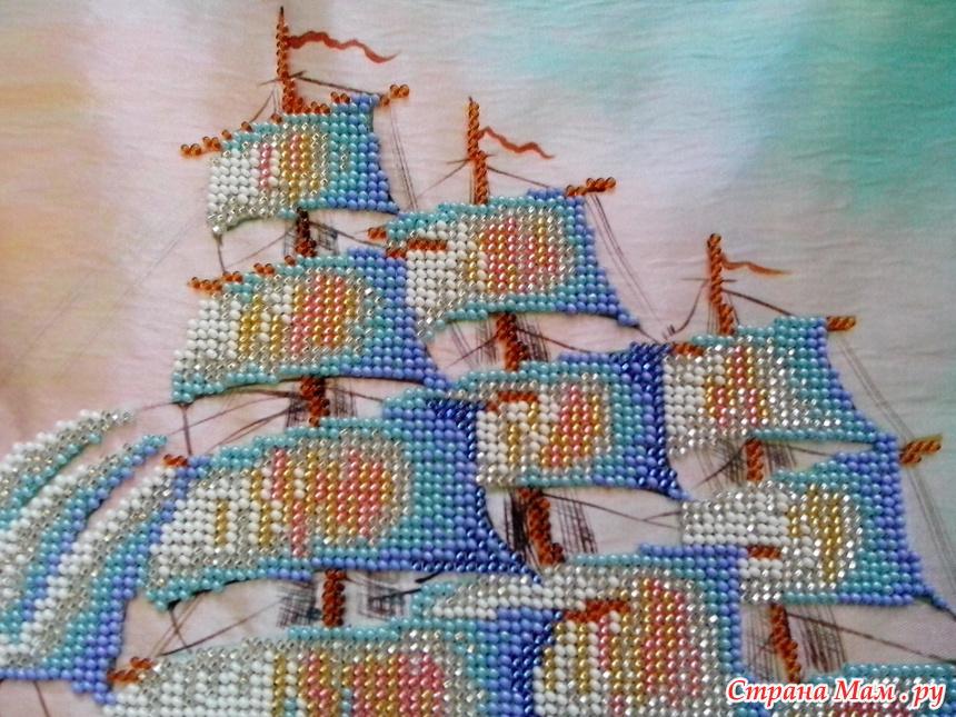 Схемы для вышивки бисером парусник 58