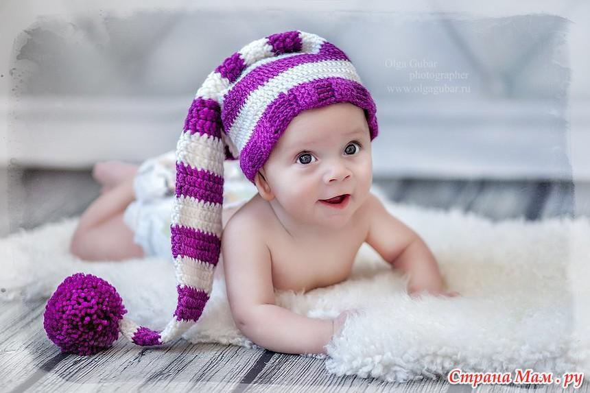 Шапочка-колпак для новорожденного малыша крючком - описание, схемы фото