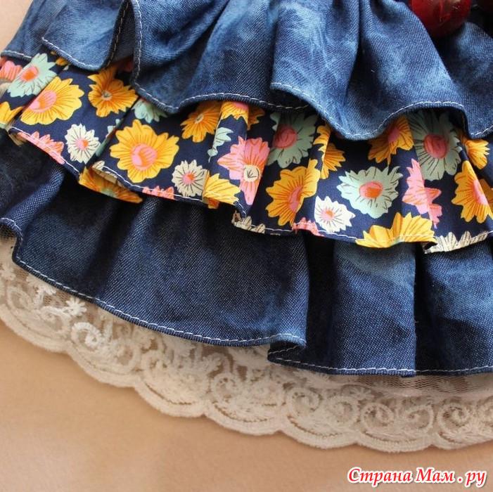 Джинсовая юбка рюшами