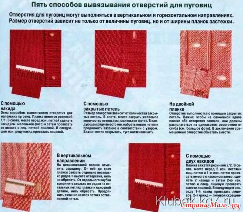 Как вязать планку для пуговиц и петель