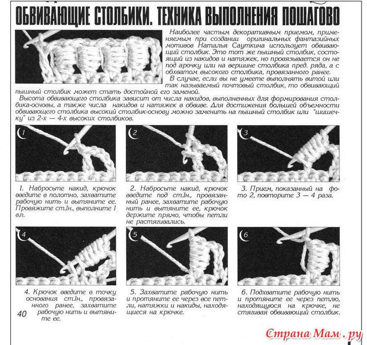 Вязание витых столбиков крючком видео