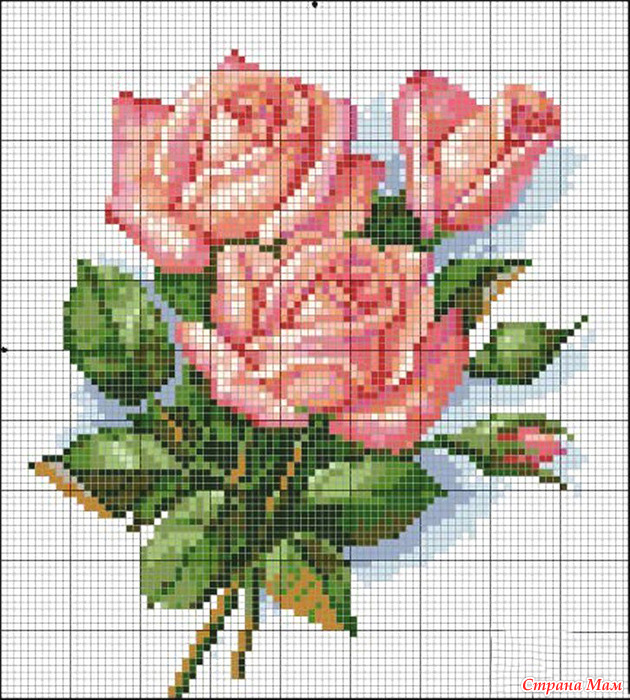 Схема розочки для вышивки крестом