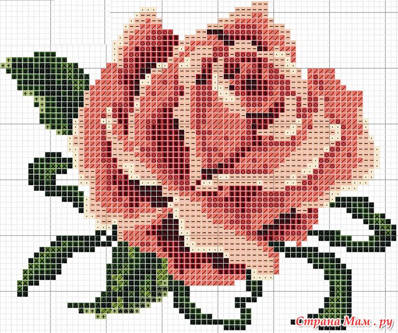 Схема вышивки крестом розочка