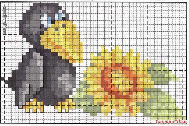 Схемы вышивки «ворона» (стр. 1) - Вышивка крестом