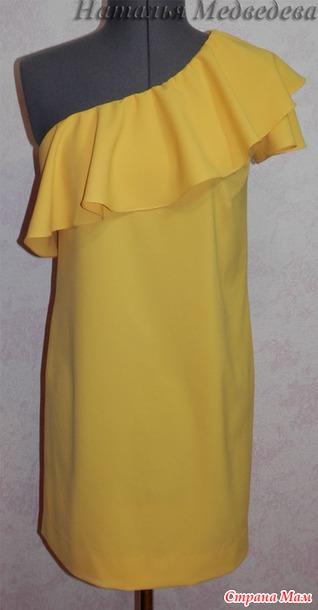 Выкройка платья с одним рукавом воланом