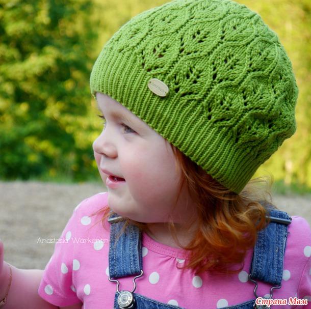 Вязаные шапочки для девочек осень