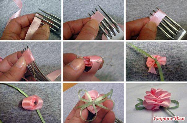 Как сделать цветок из маленькой ленты