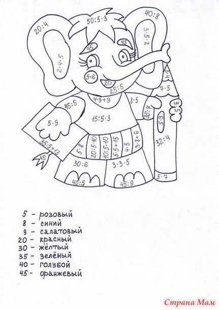 Раскраска с примерами 2 класс