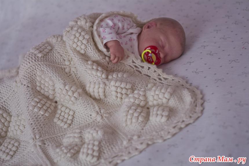 Вязанный плед для новорожденного фото