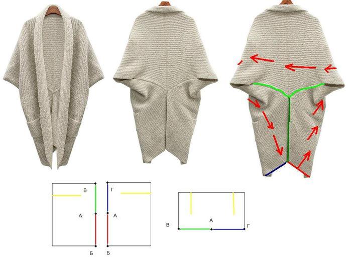 Кардиган из квадрата ткани своими руками