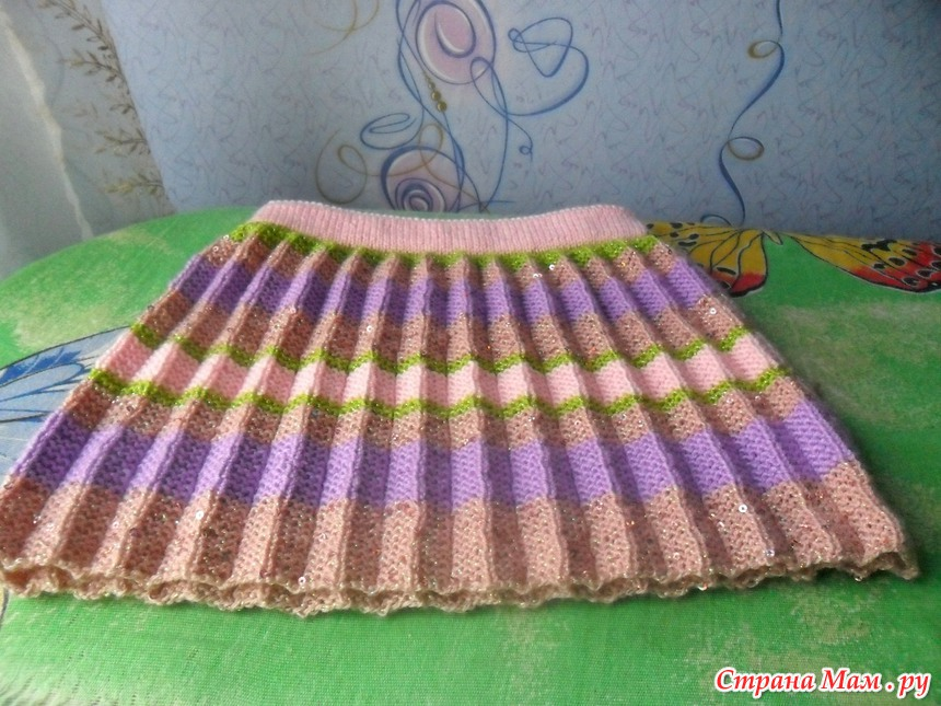 Юбка плиссе для девочки вязание