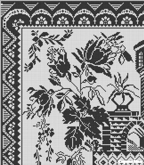 Как раскрасить филейное вязание