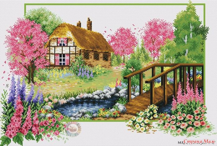 Схемы вышивок деревенские домики